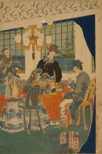 Parlour of a Foreign Mercantile House in Yokohama, 1861 by Utagawa Sadahide