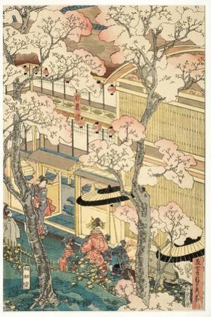True View of the Pleasure Houses of Miyosaki at the New Port, Yokohama, Kanagawa, 1860 by Utagawa Sadahide