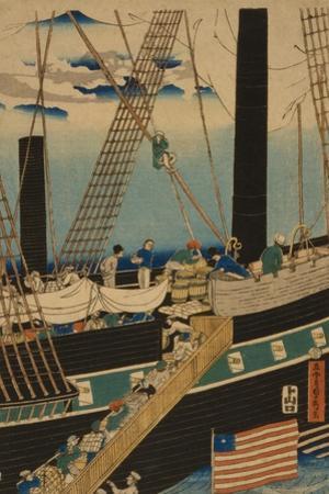 Western Traders Loading Cargo in Yokohama, 1861 by Utagawa Sadahide