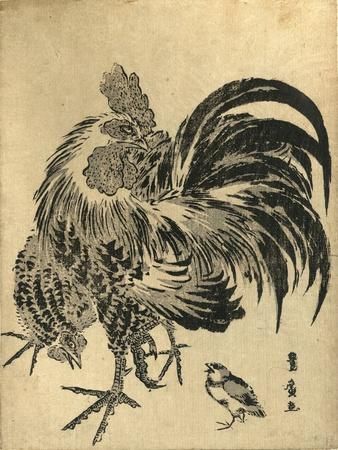 Niwatori, Hen and Chick. [Between 1804 and 1818], 1 Print : Woodcut, Color ; 22.1 X 17