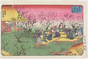 View of the Plum Garden at Umeyashiki, June 1853 by Utagawa Yoshikazu