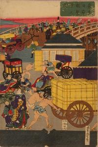 Flourishing Nihonbashi Section of Tokyo, (Tokyo Nihonbashi Han Ei No Z) Triptych by Utagawa Yoshitora