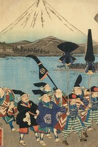 The Daimyo's Entourage before Mount Fuji, 1858 by Utagawa Yoshitora