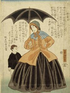Une Française sous un parapluie accompagnée d'un jeune garçon by Utagawa Yoshitora