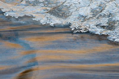Utah, Abstract Frozen Ice Pattern and Waters of Mill Creek, Moab-Judith Zimmerman-Photographic Print