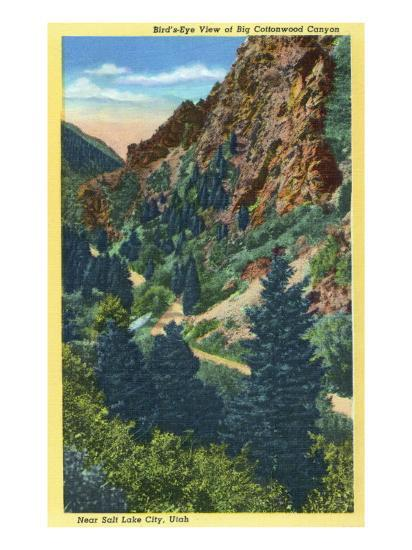 Utah, Aerial View of Big Cottonwood Canyon near Salt Lake City-Lantern Press-Art Print