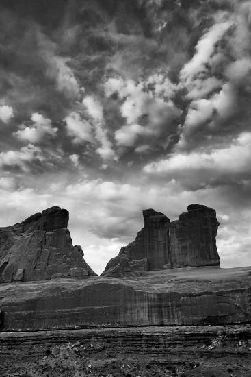 Utah, Arches National Park. Clouds and Rock Formations from Park Avenue Viewpoint-Judith Zimmerman-Photographic Print