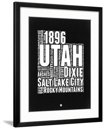Utah Black and White Map-NaxArt-Framed Art Print