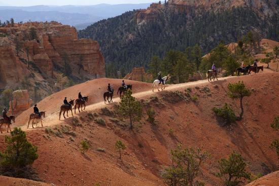 Utah, Bryce Canyon National Park, Horse Trekkers Near Queens Garden Trail-David Wall-Photographic Print