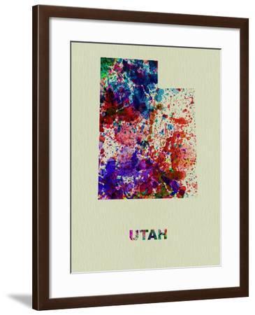 Utah Color Splatter Map-NaxArt-Framed Art Print