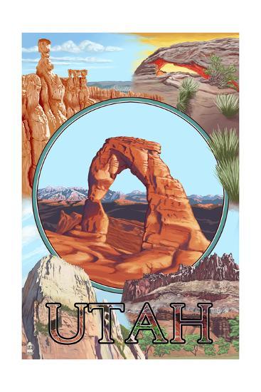 Utah - Delicate Arch Montage-Lantern Press-Art Print