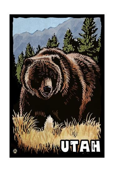 Utah - Grizzly Bear - Scratchboard-Lantern Press-Art Print
