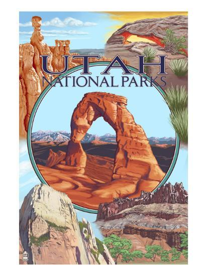 Utah National Parks - Delicate Arch Center-Lantern Press-Art Print