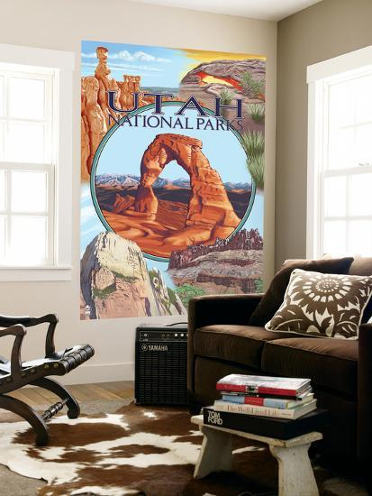 Utah National Parks - Delicate Arch Center-Lantern Press-Wall Mural