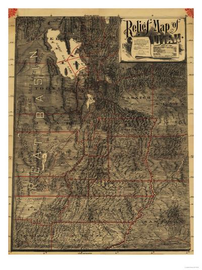 Utah - Panoramic Map-Lantern Press-Art Print