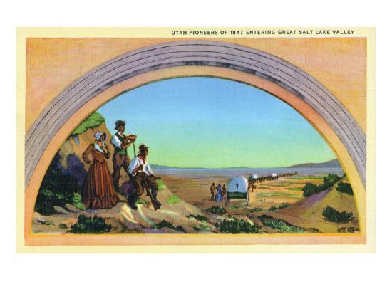 Utah, Representation of Utah Pioneers of 1847 Entering Great Salt Lake Valley-Lantern Press-Art Print