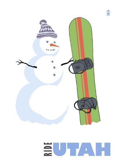 Utah, Snowman with Snowboard-Lantern Press-Art Print