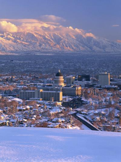 Utah State Capitol with the Wasatch Mountains, Salt Lake City, Utah-Scott T^ Smith-Photographic Print