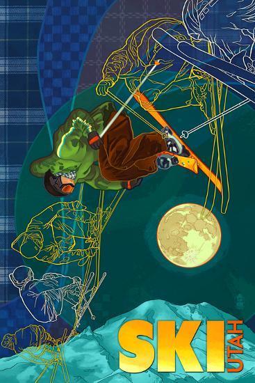 Utah - Timelapse Skier-Lantern Press-Art Print