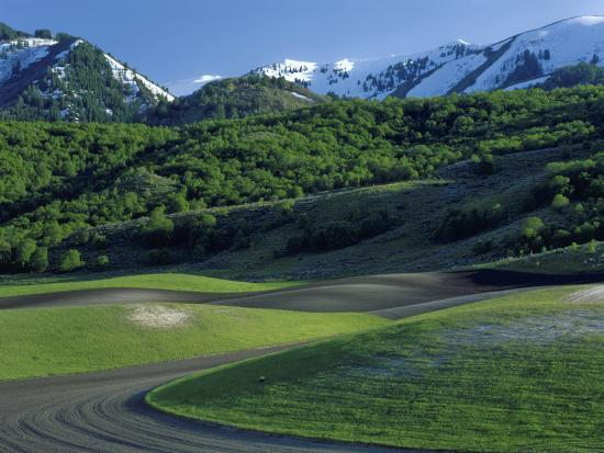 Utah. USA. Fields in Spring Below Wellsville Mountains. Cache Valley-Scott T^ Smith-Photographic Print