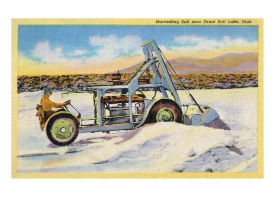 Utah, View of a Tractor Harvesting Salt near Great Salt Lake-Lantern Press-Art Print