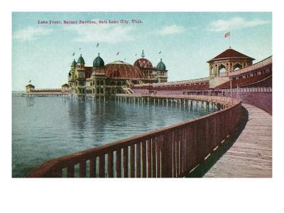Utah, View of the Great Salt Lake Front from the Saltair Pavilion Boardwalk-Lantern Press-Art Print
