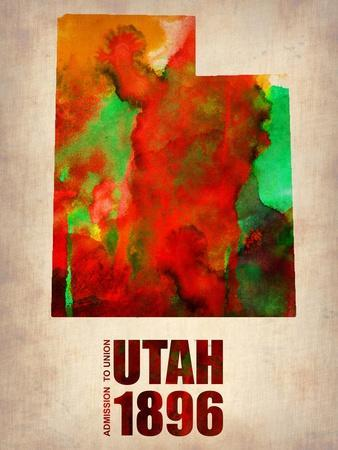 Utah Watercolor Map-NaxArt-Art Print