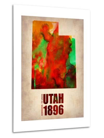 Utah Watercolor Map-NaxArt-Metal Print