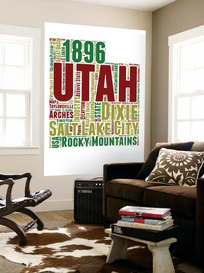 Utah Word Cloud Map-NaxArt-Wall Mural