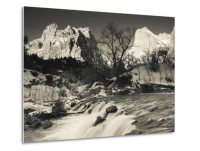 Utah, Zion National Park, Mountain Sunrise by the North Fork Virgin River, Winter, USA-Walter Bibikow-Metal Print