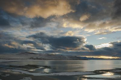Utan, Antelope Island State Park. Clouds at Sunset over a Wintery Great Salt Lake-Judith Zimmerman-Photographic Print