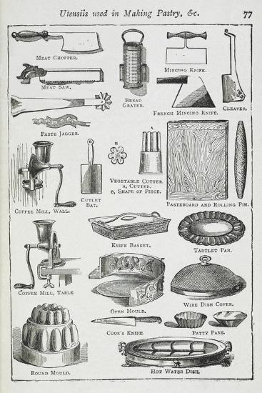 Utensils Used in Making Pastry, Including Various Knives, Moulds and Tins-Isabella Beeton-Giclee Print