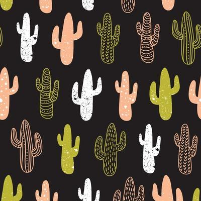 Hipster Cactus Seamless Pattern. Cacti Tribal Boho Background. Fabric Print Design. Succulent Texti