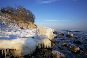 Iced Up Brodten Shore Near TravemŸnde in the Morning Light by Uwe Steffens