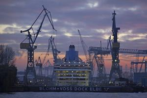 The Cruise Ship Oceana in the Dock the Elbe 17 of the Shipyard Blohm and Voss by Uwe Steffens