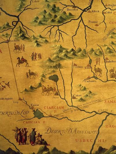 Uzbekistan Region, from Map of Asia Showing Route Taken by Marco Polo--Giclee Print