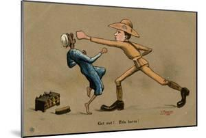 Australian Soldier Punching Shoeshine Boy by V. Manavian