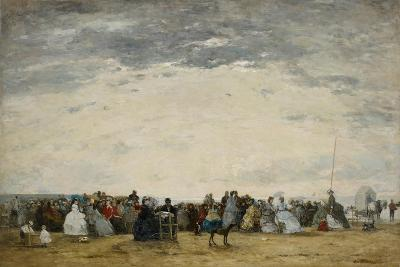 Vacationers on the Beach at Trouville, 1864-Eugene Louis Boudin-Giclee Print