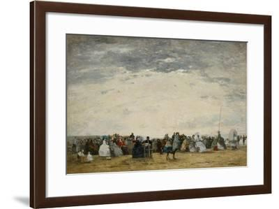 Vacationers on the Beach at Trouville, 1864-Eugene Louis Boudin-Framed Giclee Print