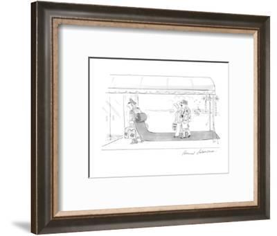 Vacationing couple enter their hotel behind a doorman whose backpack unrol? - Cartoon-Bernard Schoenbaum-Framed Premium Giclee Print