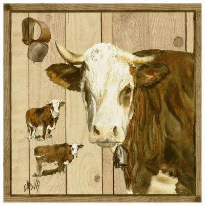 Vache Marron et Blanche-Clauva-Art Print