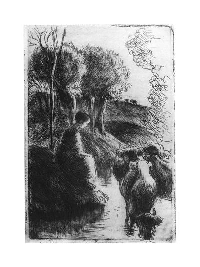 Vachere Au Bord De L'Eau, (Cowherd Beside Wate), C1850-1900-Camille Pissarro-Giclee Print