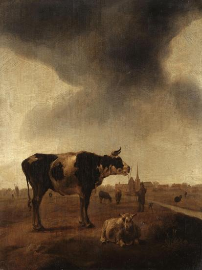 Vaches, moutons et berger-Paulus Potter-Giclee Print