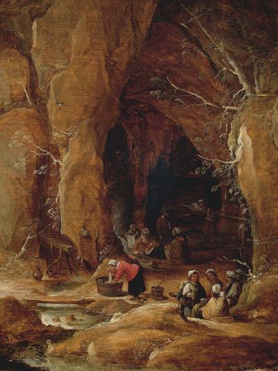 Vagabonds and Washerwomen in Cave-David Teniers II-Giclee Print