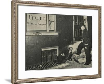 Vagrant and Policeman Outside 'Truth' Offices-Peter Higginbotham-Framed Photographic Print