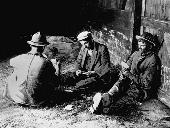 Vagrants Playing Cards in Railroad Car--Photographic Print
