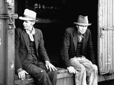 Vagrants Sitting in Boxcar--Photographic Print