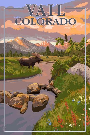 Vail, Colorado - Moose and Meadow Scene-Lantern Press-Art Print