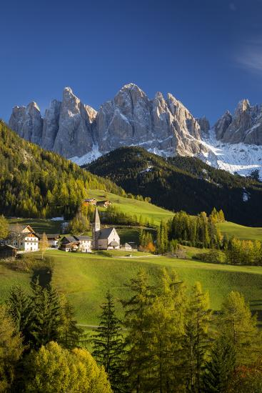 Val Di Funes, Santa Maddalena and Geisler Spitzen, Dolomites, Italy-Brian Jannsen-Photographic Print