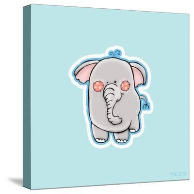 Blue Background Elephant by Valarie Wade